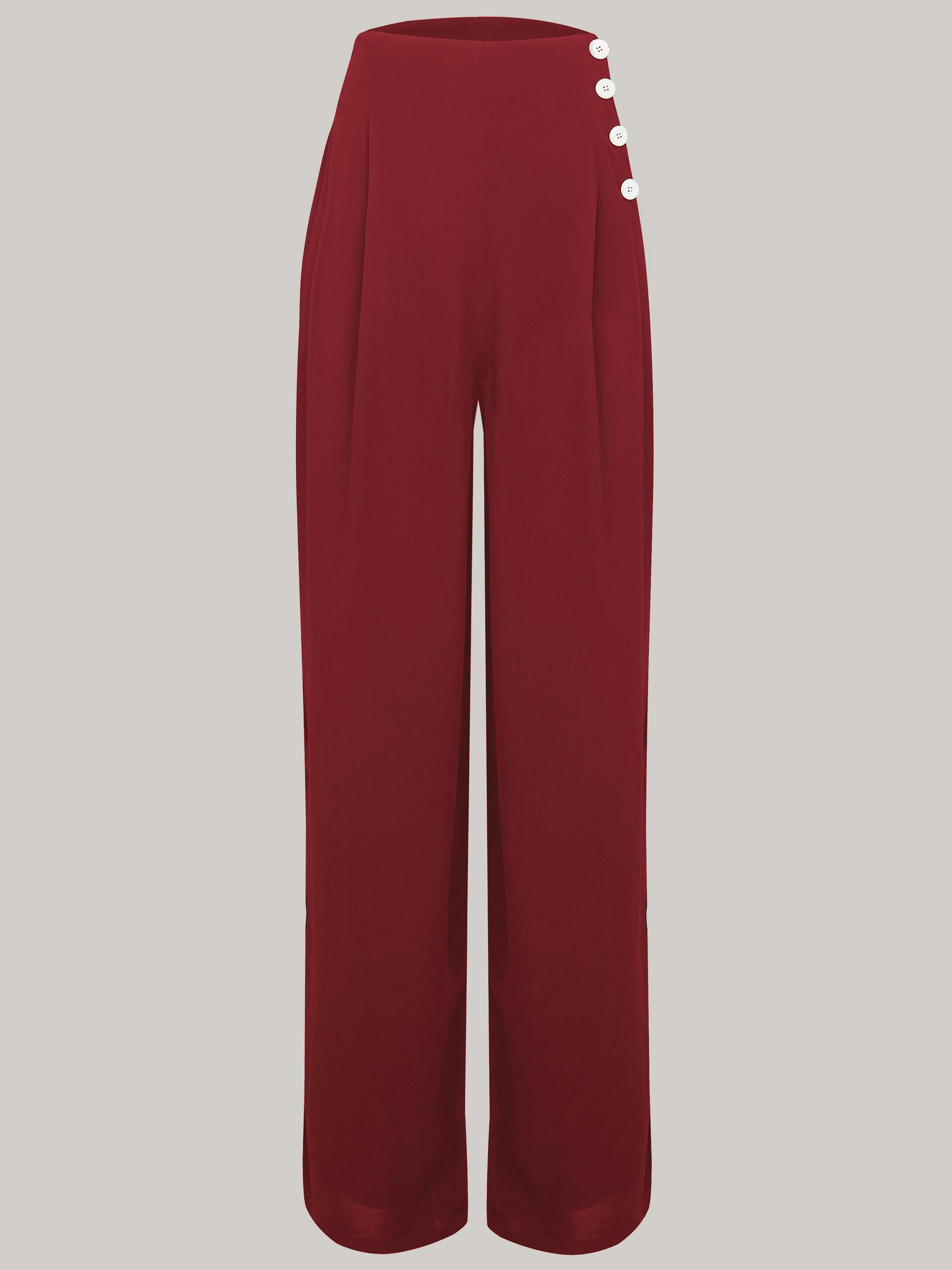 """Audrey"" Trousers in Wine, Totally Authentic & Classic 1940s True Vintage Inspired Style - RocknRomance True 1940s & 1950s Vintage Style"