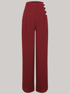 "The Seamstress Of Bloomsbury ""Audrey"" Trousers in Wine, Totally Authentic & Classic 1940s True Vintage Inspired Style - RocknRomance Clothing"