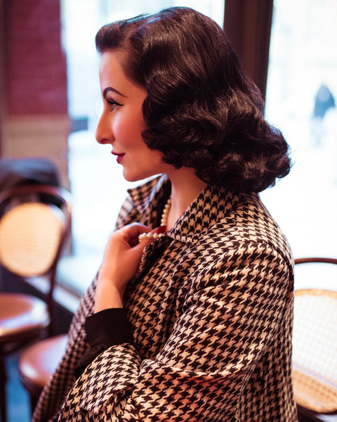 The Seamstress Of Bloomsbury Swing Jacket in Houndstooth, Vintage 1940s Cape Style Inspired Over Coat - RocknRomance Clothing