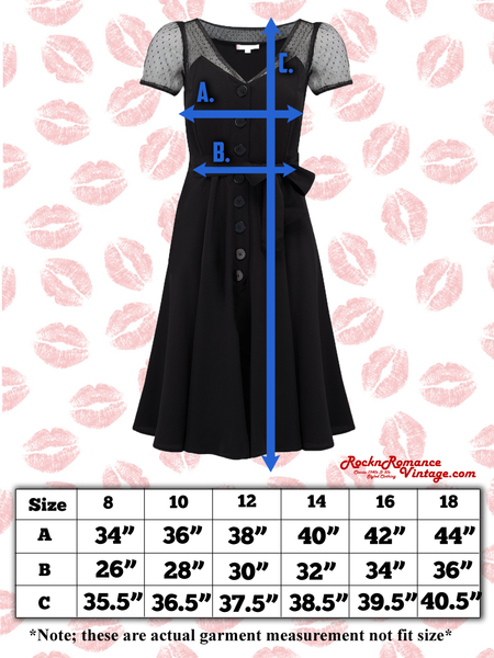 "Spec sheet Size chart ""Betty"" Swing Dress in Black by RocknRomance, Classic 1950s Vintage Inspired Style"