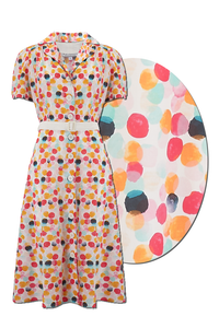 "Rock n Romance The ""Charlene"" Shirtwaister Dress in Bubblegum Print, True & Authentic 1950s Vintage Style - RocknRomance Clothing"