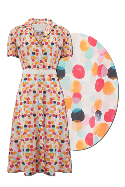 "Rock n Romance ""Charlene"" Shirtwaister Dress in Bubblegum Print, Perfect 1950s Style - RocknRomance Clothing"