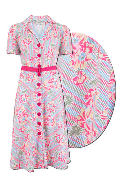 "Rock n Romance ""Charlene"" Shirtwaister Dress in Pacific Garden Print, Perfect 1950s Style - RocknRomance Clothing"