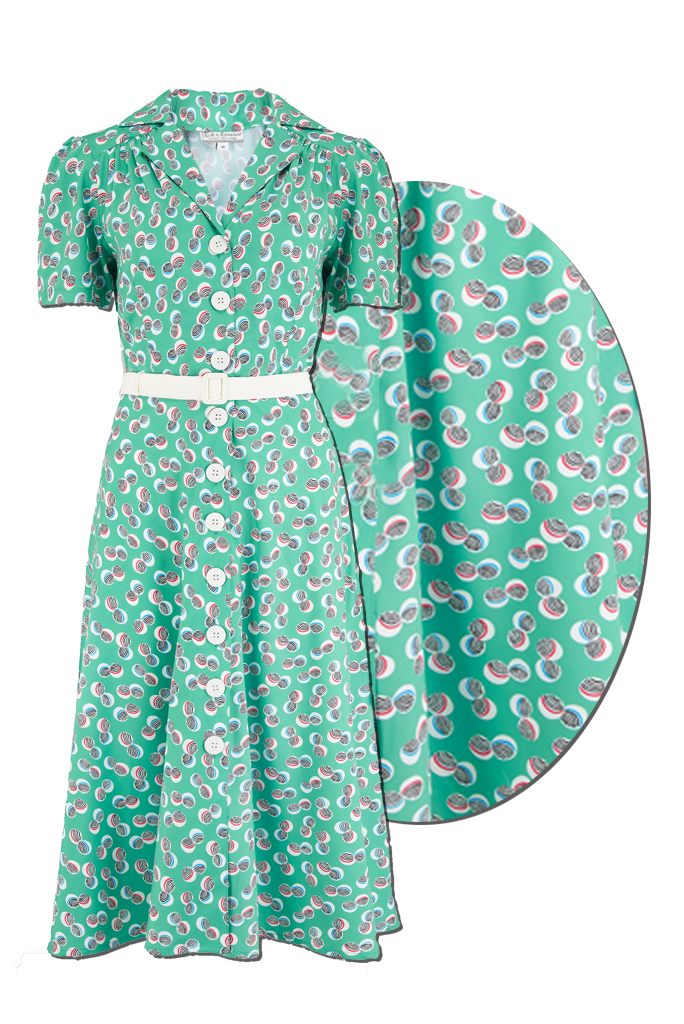 "The ""Charlene"" Shirtwaister Dress in Green Abstract Polka Print, True & Authentic 1950s Vintage Style - RocknRomance True 1940s & 1950s Vintage Style"