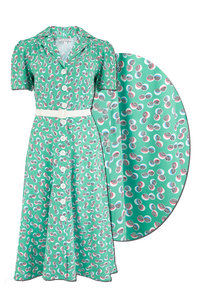 "Rock n Romance ""Charlene"" Shirtwaister Dress in Green Abstract Polka Print, Perfect 1950s Style - RocknRomance Clothing"