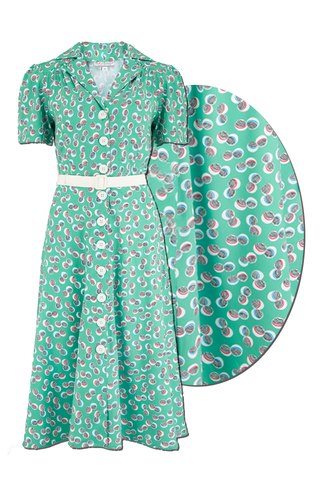 "Rock n Romance The ""Charlene"" Shirtwaister Dress in Green Abstract Polka Print, True & Authentic 1950s Vintage Style - RocknRomance Clothing"