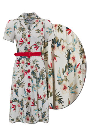 "Rock n Romance The ""Charlene"" Shirtwaister Dress in Hawaiian Print, True & Authentic 1950s Style - RocknRomance Clothing"
