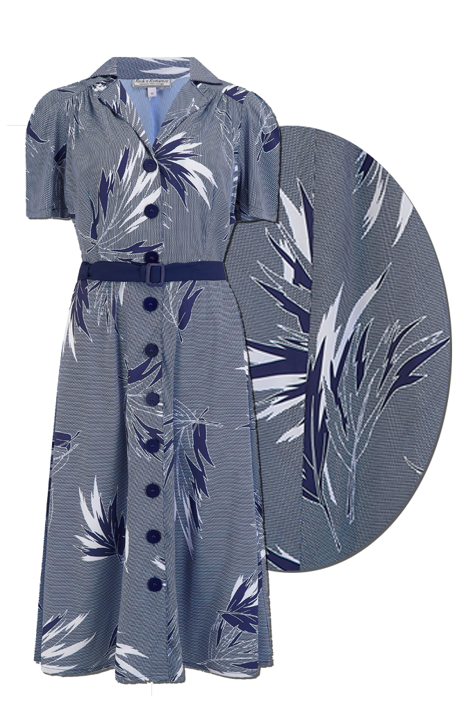 "Rock n Romance ""Charlene"" Shirtwaister Dress in Abstract Blue Maple Print, Perfect 1950s Style - RocknRomance Clothing"