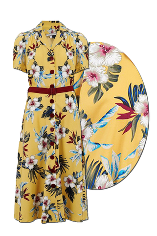 "Rock n Romance ""Charlene"" Shirtwaister Dress in Mustard Hawaiian Print, Perfect 1950s Tiki Style - RocknRomance Clothing"