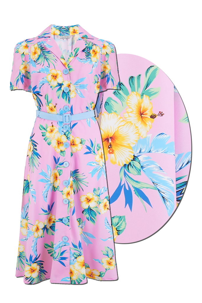 Retro Tiki Dress – Tropical, Hawaiian Dresses Sample Sale The Charlene Shirtwaister Dress in Pink Hawaiian True  Authentic 1950s Vintage Style £35.00 AT vintagedancer.com