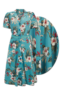 "Rock n Romance ""Charlene"" Shirtwaister Dress in Teal Hawaiian Print, Perfect 1950s Style - RocknRomance Clothing"