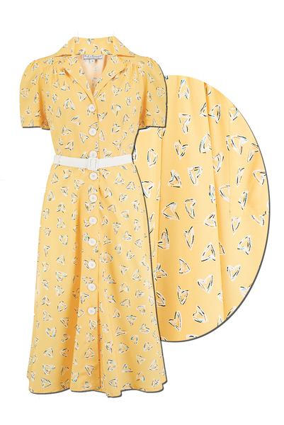 "Rock n Romance The ""Charlene"" Shirtwaister Dress in Yellow Abstract Heart Print, True & Authentic 1950s Vintage Style - RocknRomance Clothing"