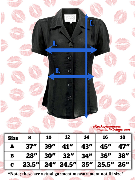 "Spec sheets Size charts ""Grace"" Blouse in Black by Rock n Romance, Authentic 1950s Vintage Style"