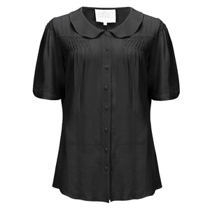 "Seamstress Of Bloomsbury ""Harriet"" Blouse in Black, Authentic & Classic 1940s Vintage Inspired Style"