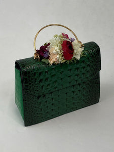Classic Bags In Bloom Classic Vintage Style Moc Croc Clara bag In Vintage Green - RocknRomance Clothing