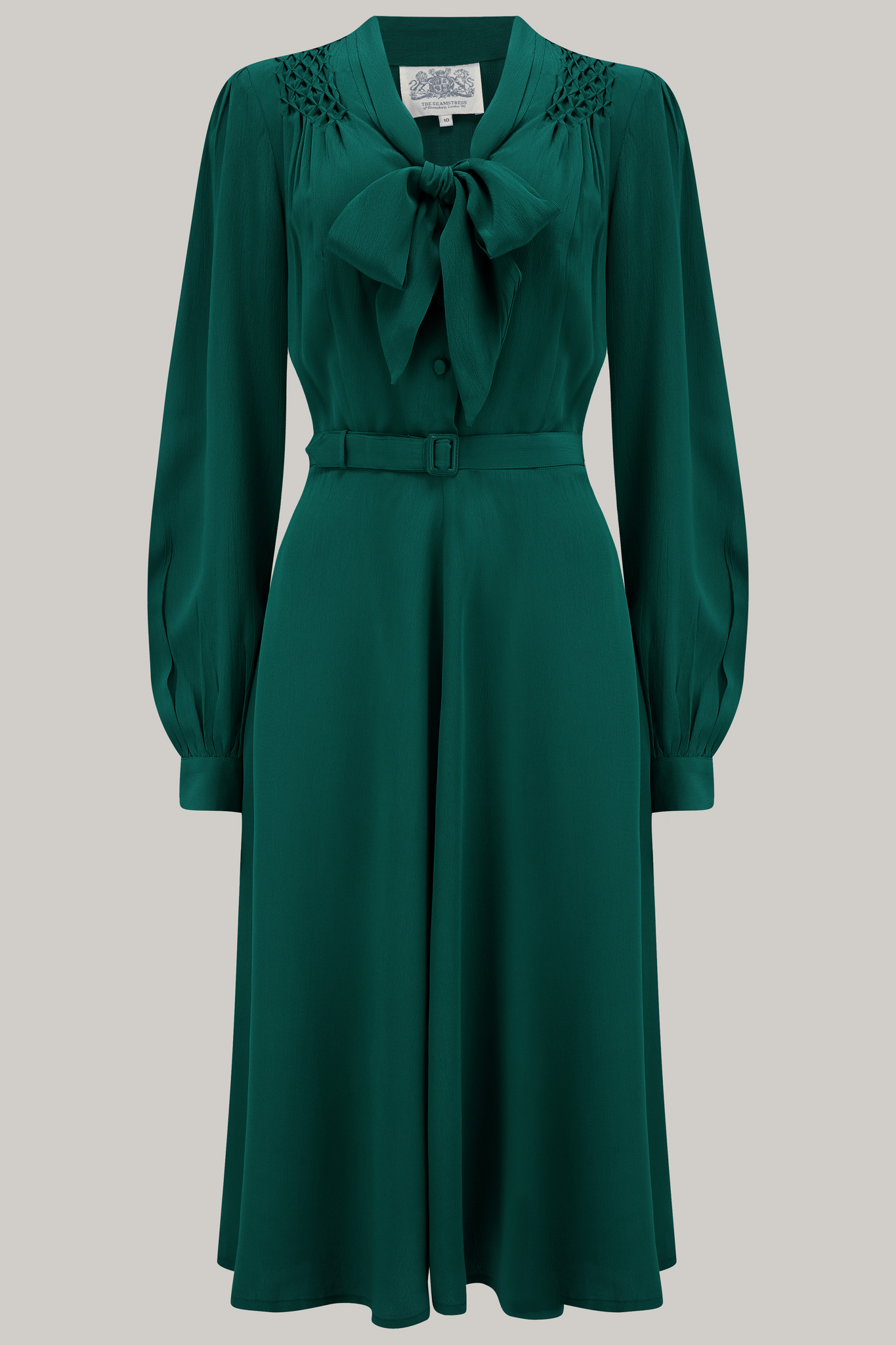 "The Seamstress Of Bloomsbury ""Eva"" Dress in Green , Classic 1940's Style Long Sleeve Dress with Tie Neck - RocknRomance Clothing"