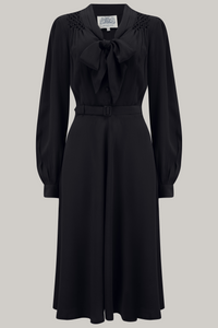 """Eva"" Dress in Black , Classic 1940's Style Long Sleeve Dress with Tie Neck - RocknRomance True 1940s & 1950s Vintage Style"