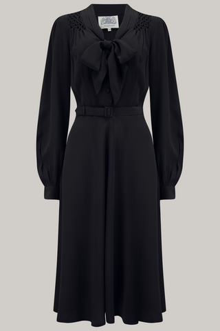 "The Seamstress Of Bloomsbury ""Eva"" Dress in Black , Classic 1940's Style Long Sleeve Dress with Tie Neck - RocknRomance Clothing"