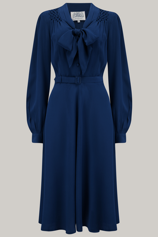 "The Seamstress Of Bloomsbury ""Eva"" Dress in Navy , Classic 1940's Style Long Sleeve Dress with Tie Neck - RocknRomance Clothing"