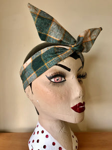Twist & Go .. Wired Headband (No Tying Fiddly Knots or Bows) 1950s Rockabilly / 1940s Landgirl Style .. In Green Check Print - RocknRomance True 1940s & 1950s Vintage Style