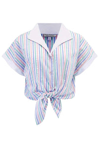 "Rock n Romance **Sample Sale** Tuck in or Tie Up ""Maria"" Blouse in Pastel Stripe Cotton Seersucker, Vintage 1950s Style - RocknRomance Clothing"