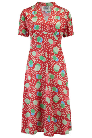 """Dolores"" Swing Dress Satin Atomic Spot print, A Classic 1940s Inspired Vintage Style the seamstress of bloomsbury"
