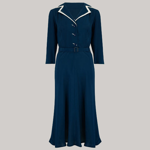 Long sleeve Lisa - Mae Dress in Navy with contrast under collar, Authentic 1940s Vintage Style at its Best