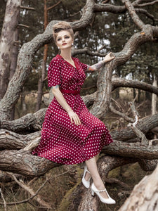 "Lisa"" Shirt Dress in Wine with white Polkadot Print, Authentic 1940s Vintage Style at its Best - RocknRomance True 1940s & 1950s Vintage Style"