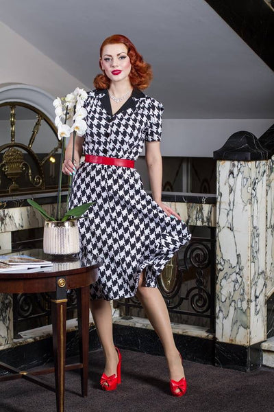 """Lola"" Shirtwaister Dress in Large Black & White Houndstooth, Perfect 1950s Style"