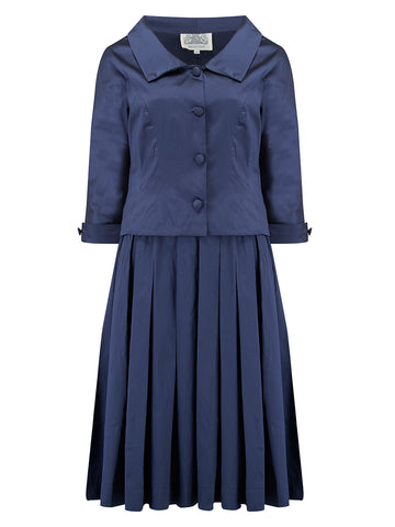 """Josie"" Ladies Dress & Jacket 2pc Suit set in Navy Blue, Authentic 1940s Vintage Style Seamstress Of Bloomsbury"