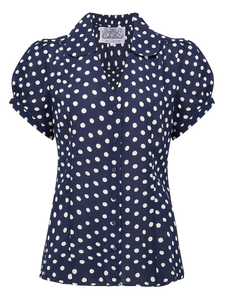 "The Seamstress Of Bloomsbury ""Judy"" Blouse in Navy Blue with Polka Spot, Authentic & Classic 1940s Vintage Style - RocknRomance Clothing"