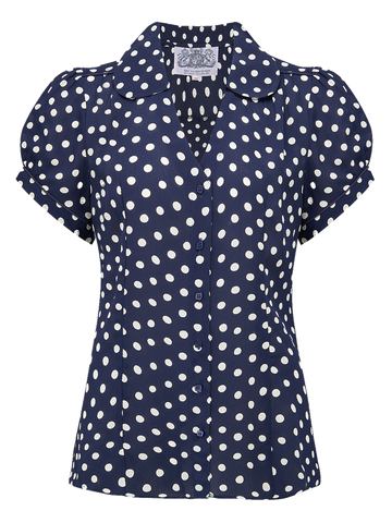 "The 1940s Vintage Inspired ""Judy"" Blouse in Navy Blue with Polka Spot by The Seamstress Of Bloomsbury"