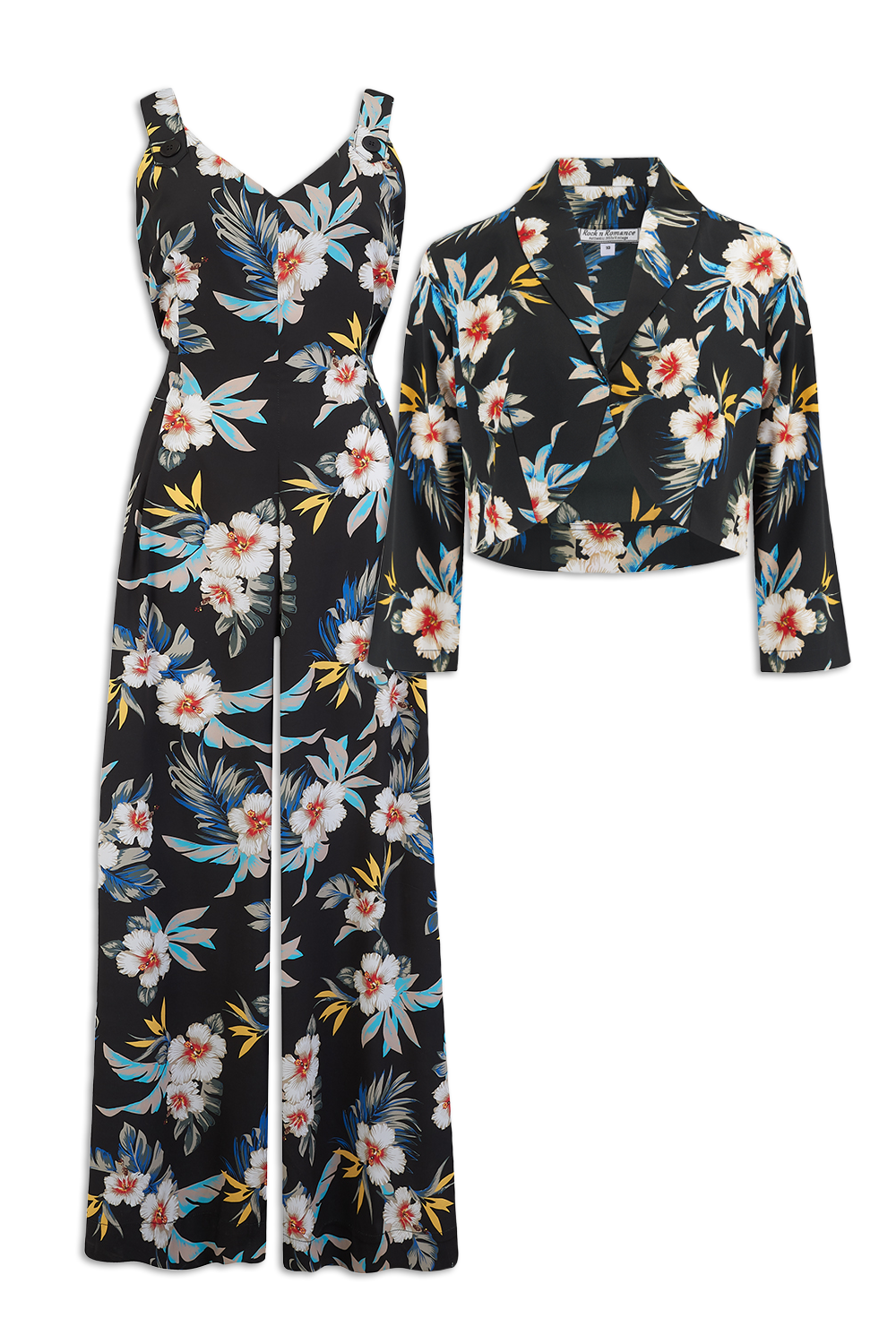 """Lana"" Jump Suit & Bolero 2pc Set in Black Hawaiian Print, Classic 1950s Style, New for AW19"
