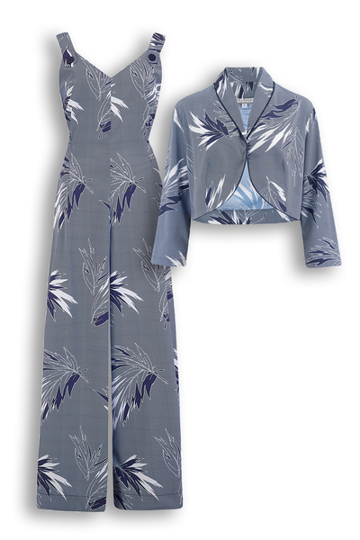 """Lana"" Jump Suit & Bolero 2pc Set in Abstract Blue Maple Print, Classic 1950s Style, New for AW19"
