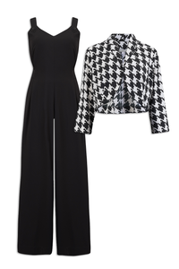 """Lana"" Jump Suit & Bolero 2pc Set in Black & Large Houndstooth, Classic 1950s Style, New for AW19"