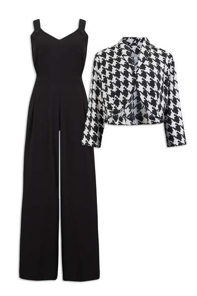 "Rock n Romance **Sample Sale** ""Lana"" Jump Suit & Bolero 2pc Set in Black & Large Houndstooth, Classic 1950s Style - RocknRomance Clothing"
