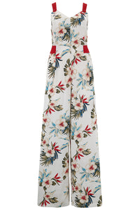"RocknRomance Vintage PinUp Rockabilly ""Lana"" Jump Suit in Hawaiian Print, Perfect 1950s Tiki Style"