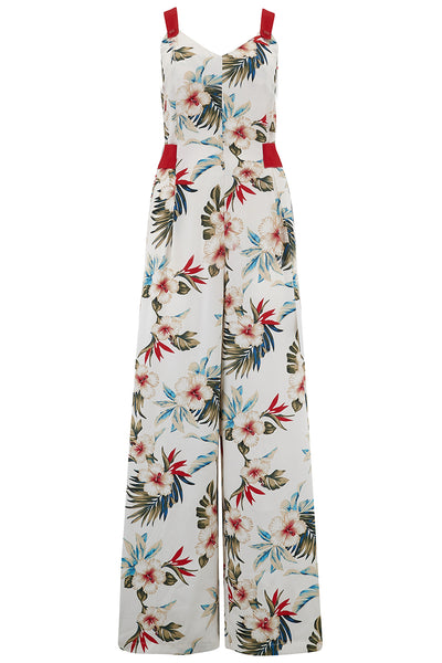 "Rock n Romance ""Lana"" Jump Suit in Hawaiian Print, Perfect 1950s Tiki Style - RocknRomance Clothing"