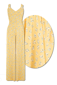 "Rock n Romance ""Lana"" Jump Suit in Yellow Abstract Heart Print, Perfect 1950s Vintage Style - RocknRomance Clothing"