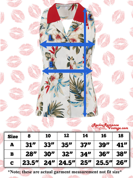 "Spec sheet Size chart RocknRomance Vintage Pin Up Rockabilly ""Lindy"" Halter Blouse in Hawaiian Print & Contrast Collar, Perfect 1950s Style, New for SS19"