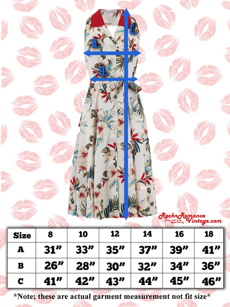 "Spec sheets Size chart ""Lindy"" Halter Dress in Hawaiian Print & Contrast Collar, Perfect 1950s Style"