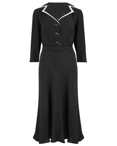 Long sleeve Lisa - Mae Dress in Black with contrast under collar, Authentic 1940s Vintage Style at its Best - RocknRomance True 1940s & 1950s Vintage Style