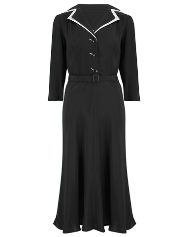 The Seamstress Of Bloomsbury Long sleeve Lisa - Mae Dress in Black with contrast under collar, Authentic 1940s Vintage Style at its Best - RocknRomance Clothing