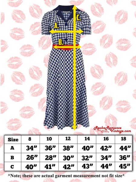 "Spec sheet Size chart ""Lola"" Shirtwaister Dress in Large Black & White Houndstooth, Perfect 1950s Style"