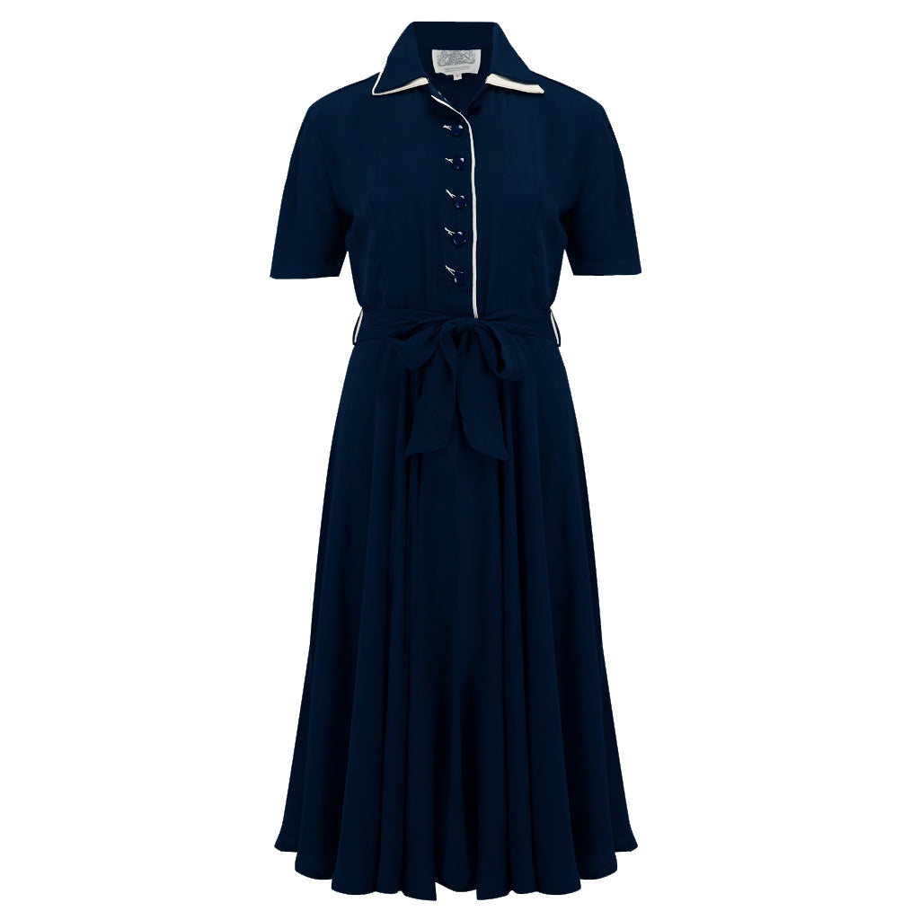 "The Seamstress of Bloomsbury ""Mae"" Tea Dress in Navy with Cream Contrasts, Classic 1940s Vintage Style - RocknRomance Clothing"