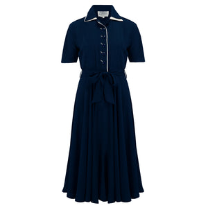 """Mae"" Tea Dress in Navy with Cream Contrasts, Classic 1940s Vintage Style"