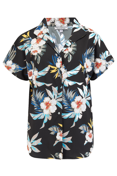 "Rock n Romance Tuck in or Tie Up ""Maria"" Blouse in Black Hawaiian Print, Authentic 1950s Tiki Style - RocknRomance Clothing"