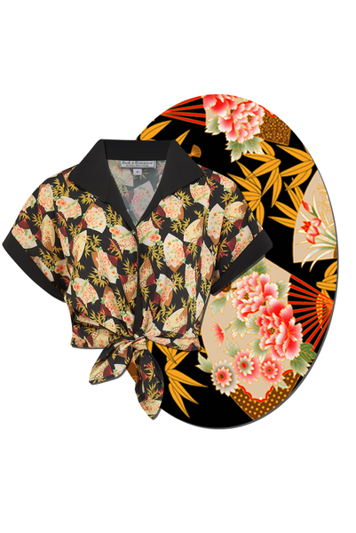 "Tuck in or Tie Up ""Maria"" Blouse in Japanese Fan Print, Authentic 1950s Tiki Style - RocknRomance True 1940s & 1950s Vintage Style"