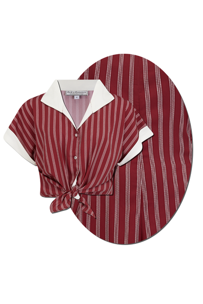 "Rock n Romance Tuck in or Tie Up ""Maria"" Blouse in Maroon Dotty Stripe, Authentic 1950s - RocknRomance Clothing"