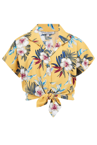 "Rock n Romance Tuck in or Tie Up ""Maria"" Blouse in Mustard Hawaiian Print, 1950s Tiki Inspired Style - RocknRomance Clothing"